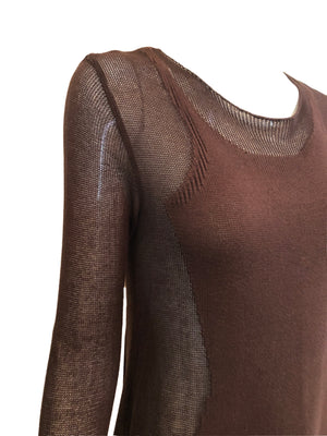 Gaultier Sexy Brown Knit Body Con  Full Length Tunic  DERAIL 3 of 6