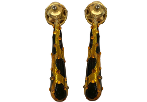 80s Huge Gold and Black Spotted Teardrop Earrings  BACK 2 of 2