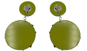 80s Huge Earrings Pea Green Resin Hashtag  BACK 2 of 2