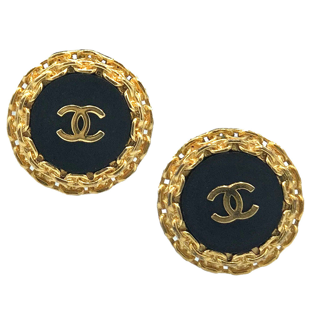 Chanel 90s Gold Tone Link and Black Button Earrings   1 of 3