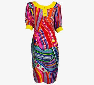 Leonard Multi-Color Silk Dress FRONT 1 of 7