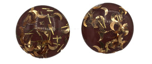 +50s Brown Lucite Button Earrings with Gold Confetti 1 of 3