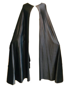 Halston 70s Cape Black Full Length Stretch Satin FRONT 1 of 3