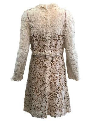 Mollie Parnis 70s Dress White Lace Bridal with Nude Underlay  BACK 3 of 4