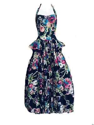 40s Black Floral Halter Gown with Peplum FRONT 1 of 5