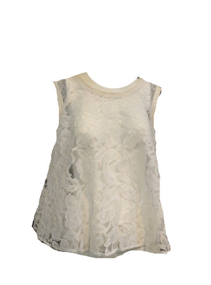 Patrick Kelly 90s White Lace Trapeze Top  FRONT 1 of 6