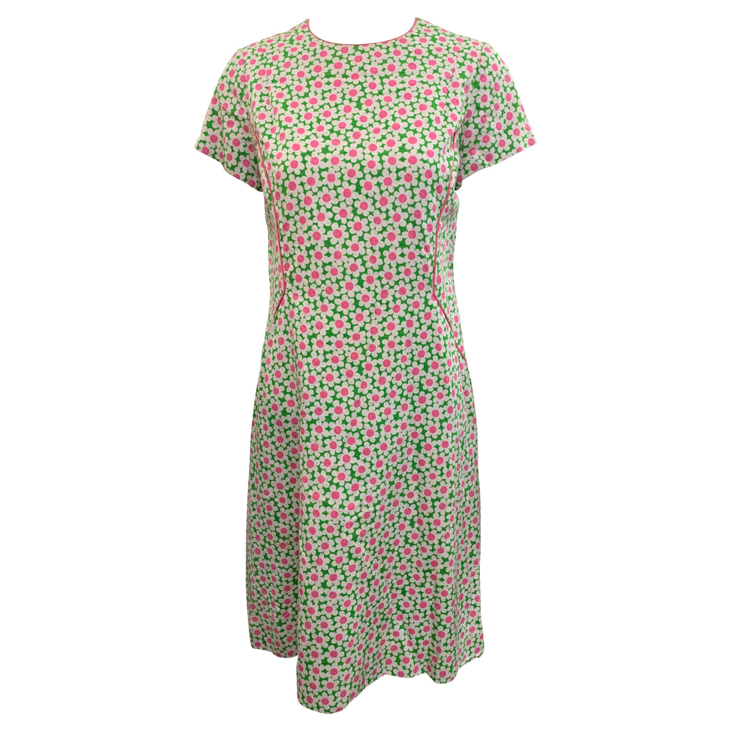 60s dress White Pique with Daisy Print  FRONT 1 of 3