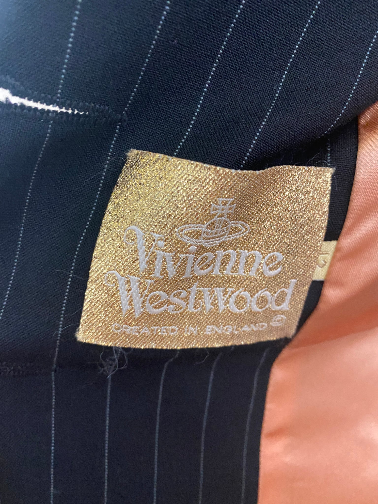 Vivienne Westwood 90s Black Pinstripe Equestrian Ensemble LABEL 6 of 6