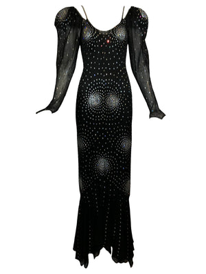 Heidi Beck Contemporary  Black Crochet  Gown Encrusted with Rhinestones 1 of 6