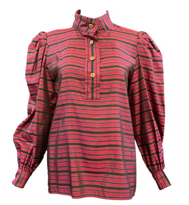 Saint Laurent Rive Gauche Striped Peasant Blouse Front #1 o5