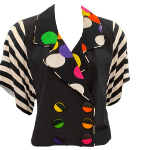 80s ensemble black rainbow polka dot blouse front 2 of 2