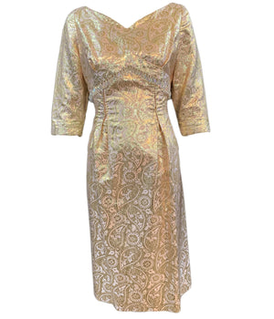 60s dress gold lame jacquard cocktail wiggle dress