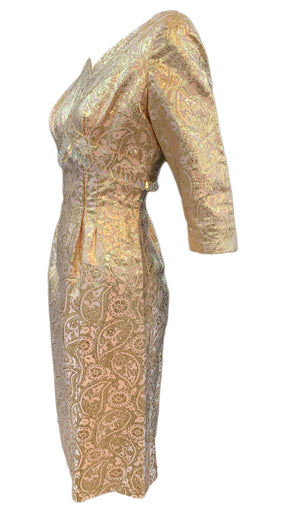 60s dress gold lame jacquard cocktail wiggle dress, side