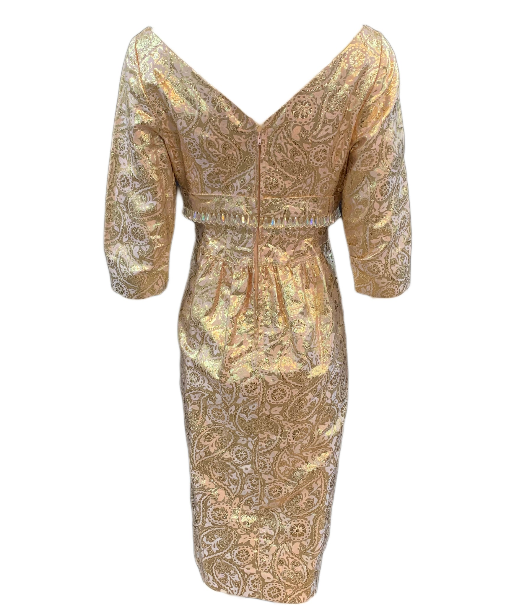 60s dress gold lame jacquard cocktail wiggle dress, back