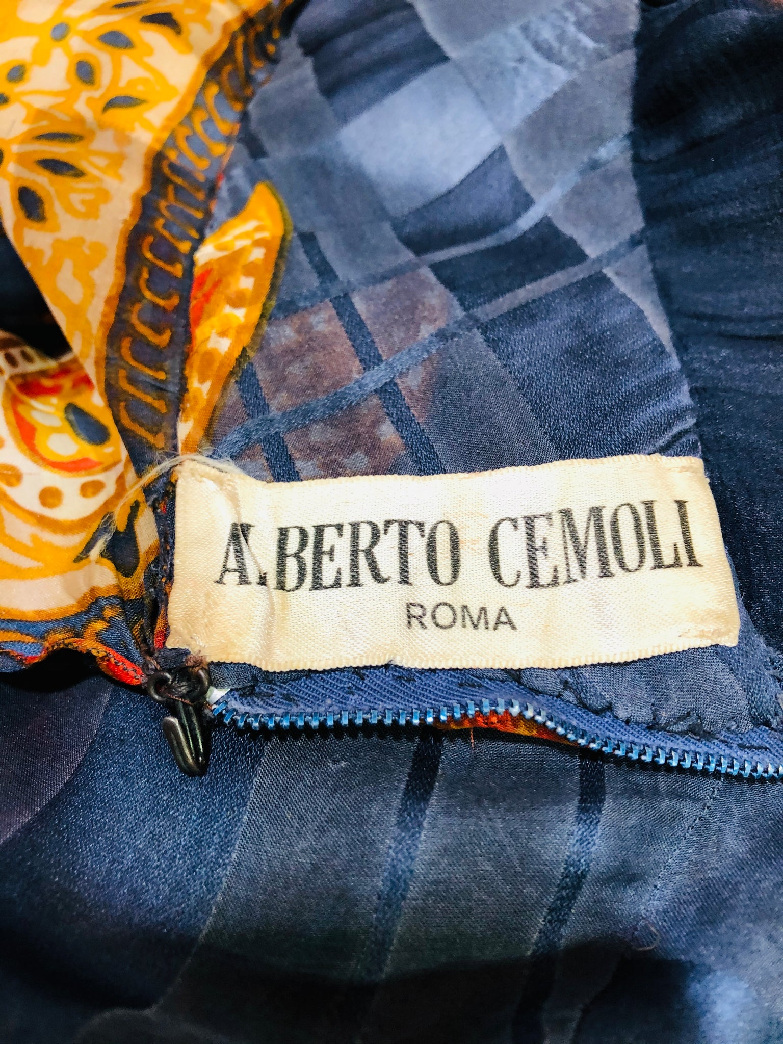 Alberto Cemoli Blue Paisley Chiffon Gown LABEL 5 of 5