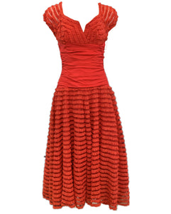 50s Red Taffeta Ruffled Evening Dress Front 1 of 4