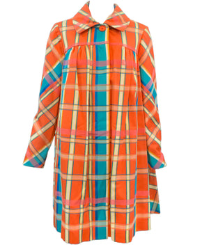 Beene Bazaar 60s Orange and Blue Plaid Coat Front 1 of 3