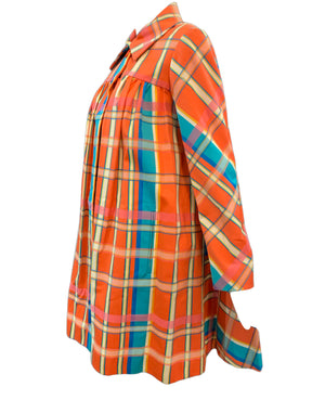 Beene Bazaar 60s Orange and Blue Plaid Coat Side 2 of 3