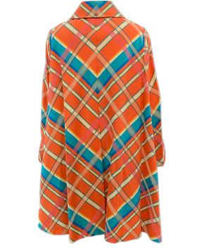 Beene Bazaar 60s Orange and Blue Plaid Coat Back 1 of 3