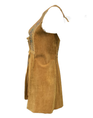 Char 70s Hand Painted Tan Suede Vest Side 4 of 5