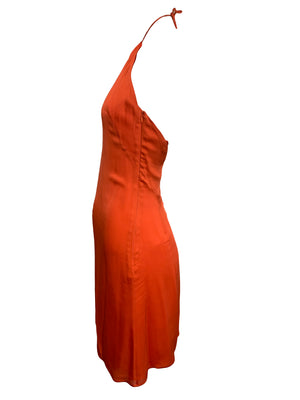 Valentino Orange Silk Mini Dress SIDE 3 of 4