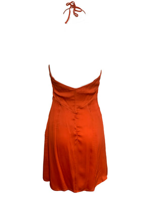 Valentino Orange Silk Mini Dress BACK 2 of 4