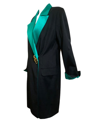 Genny 80s Black and Green Satin Trimmed Evening Jacket/Coat  SIDE 2 of 5