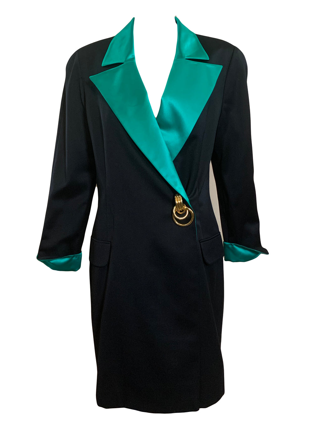 Genny 80s Black and Green Satin Trimmed Evening Jacket/Coat  FRONT 1 of 5