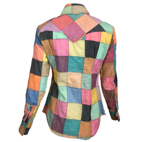 70s Patchwork Button Down Western Shirt Back 2 of 5
