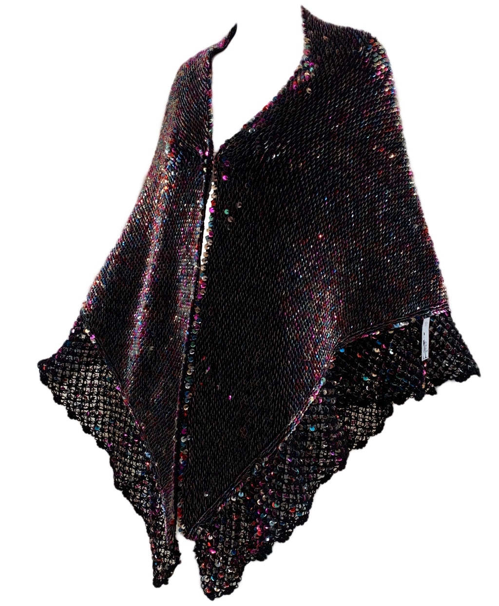 50s Black Crochet Shawl with Rainbow Sequins Side 1 of 4