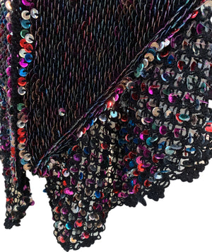 50s Black Crochet Shawl with Rainbow Sequins Detail B 4 of 4