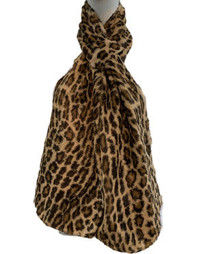 80s Norma Kamali Faux  Fur Leopard print Neck Scarf 1 of 3