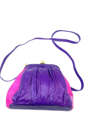 Andrea Pfister Snakeskin Shoulder Bag in Purple and Fuschia  WITH STRAP 2 of 5