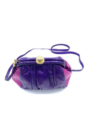 Andrea Pfister Snakeskin Shoulder Bag in Purple and Fuschia  TOP 4 of 5
