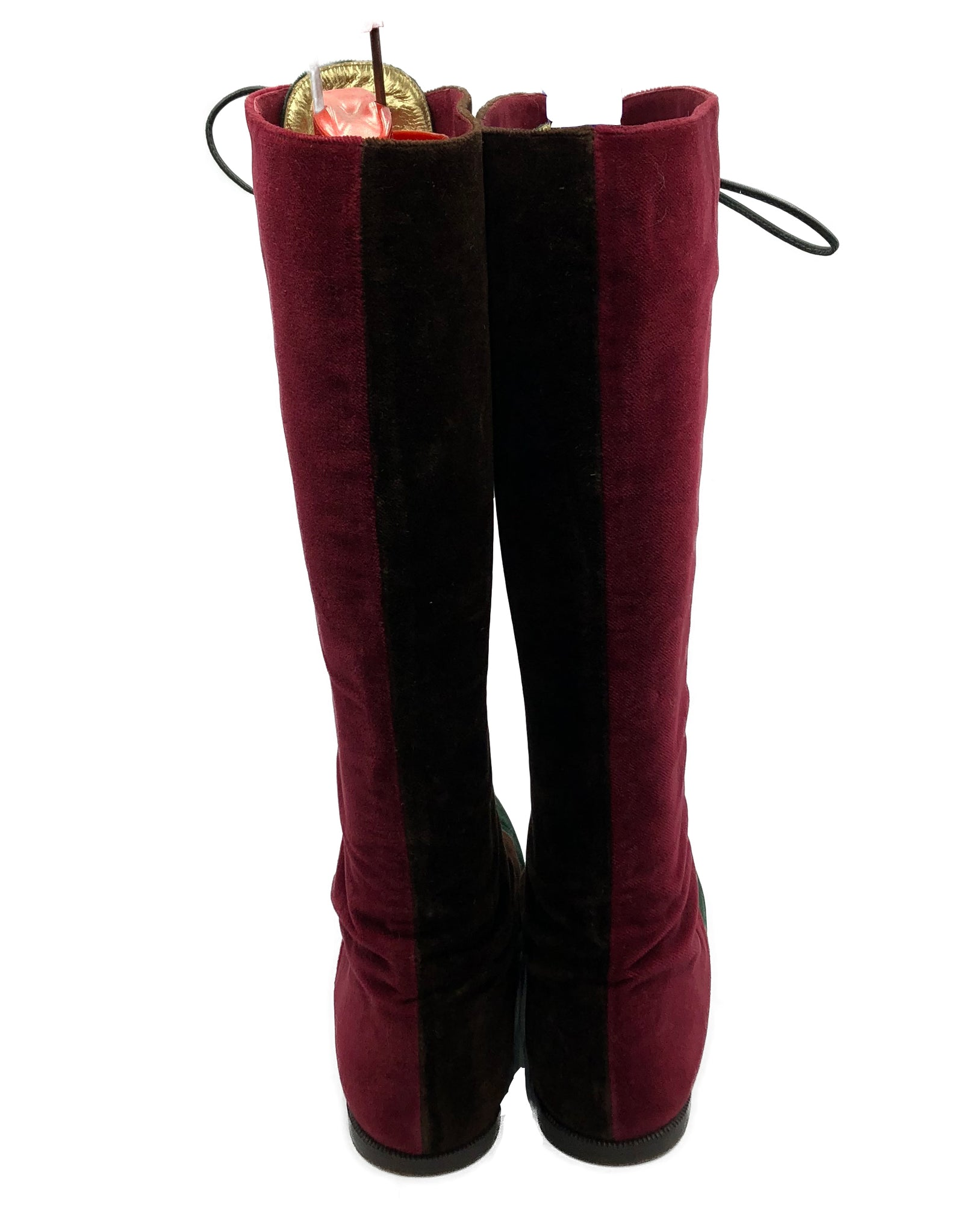 90s Two Tone Velvet Boots 3 of 4