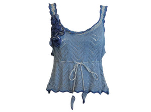 Anna Sui 90s Blue Crochet Crop Top FRONT 1 of 6