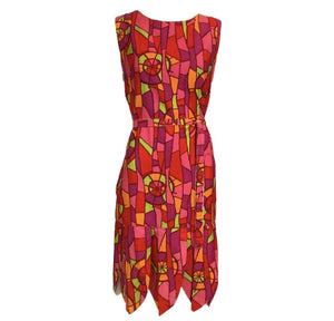 60s Psychedelic Print Shift Dress with Petal Hem FRONT 1 of 6