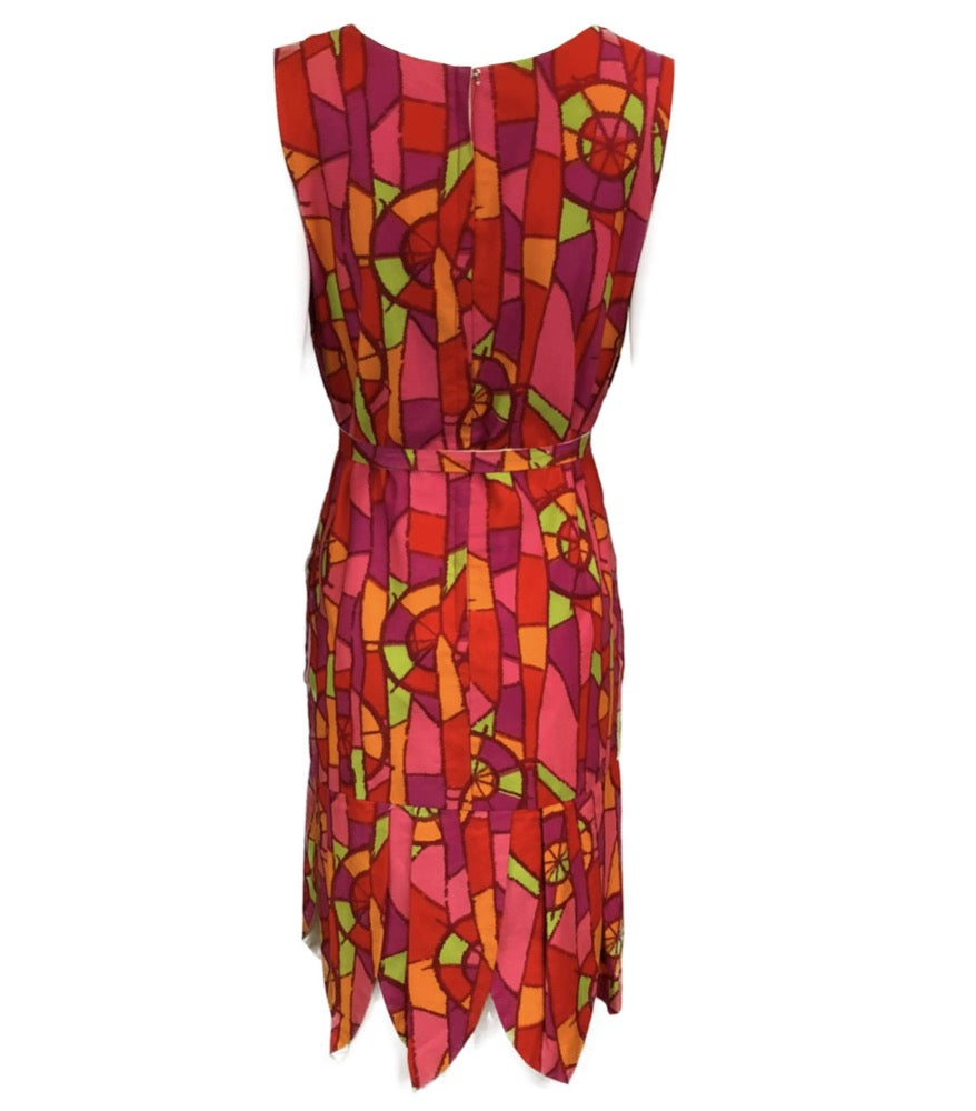 60s Psychedelic Print Shift Dress with Petal Hem BACK 2 of 6