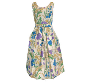 60s Floral Pique Summer Dress FRONT 1 of 5