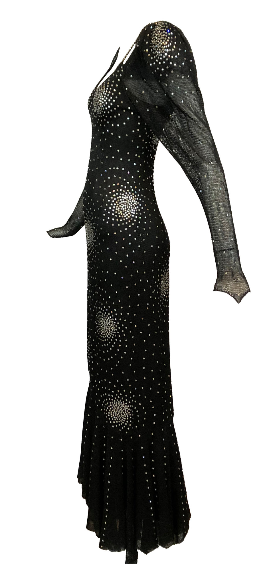 Heidi Beck Contemporary  Black Crochet  Gown Encrusted with Rhinestones 2 of 6