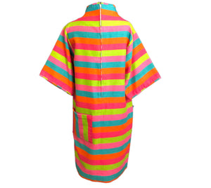 60s Candy Colored Striped Beatnik Shift Dress BACK 2 of 6