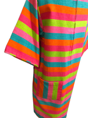 60s Candy Colored Striped Beatnik Shift Dress DETAIL 3 of 6
