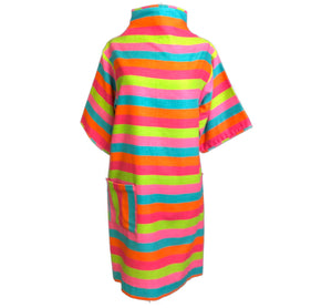 60s Candy Colored Striped Beatnik Shift Dress FRONT 1 of 6