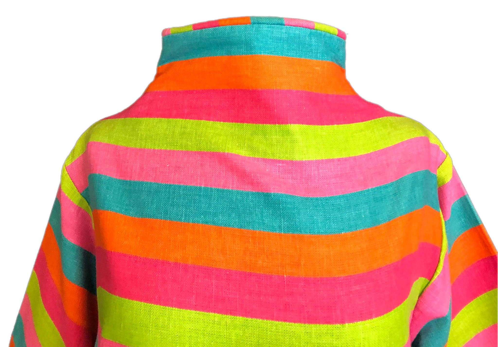 60s Candy Colored Striped Beatnik Shift Dress DETAIL 4 of 6