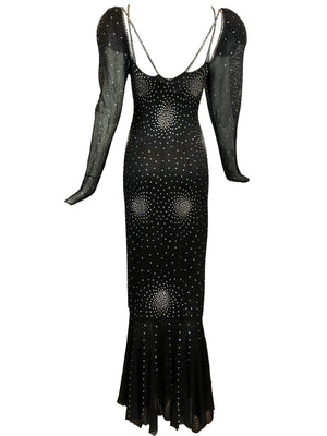 Heidi Beck Contemporary  Black Crochet  Gown Encrusted with Rhinestones