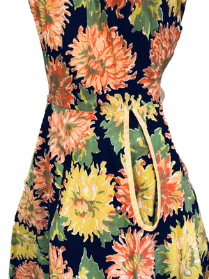 50s Cotton Summer Fit and Flare Dress with Mum Print DETAIL 3 of 5