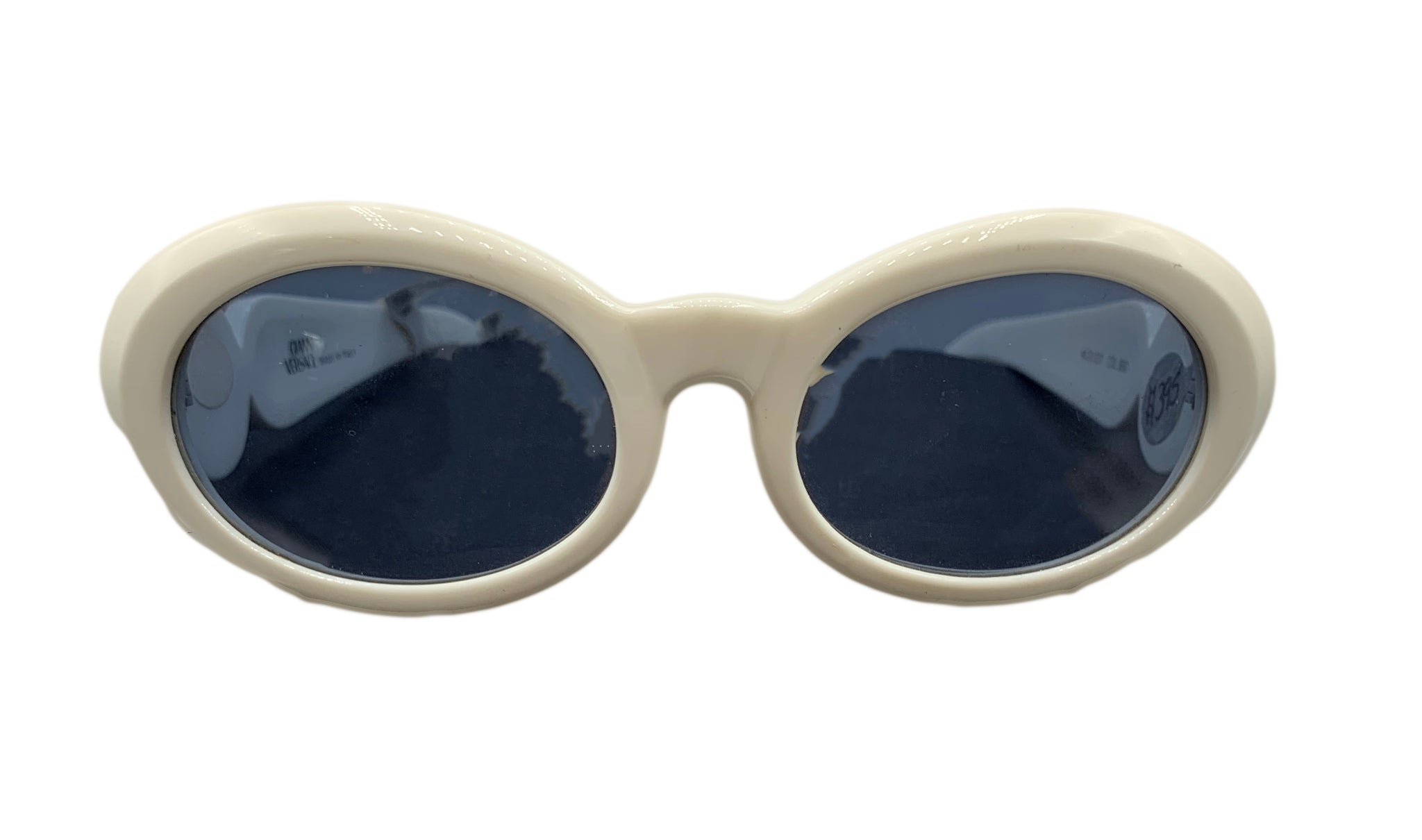Versace 90s White Sunglasses with Medusa Heads Front  1 of 4