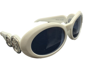 Versace 90s White Sunglasses with Medusa Heads Side 2 of 4