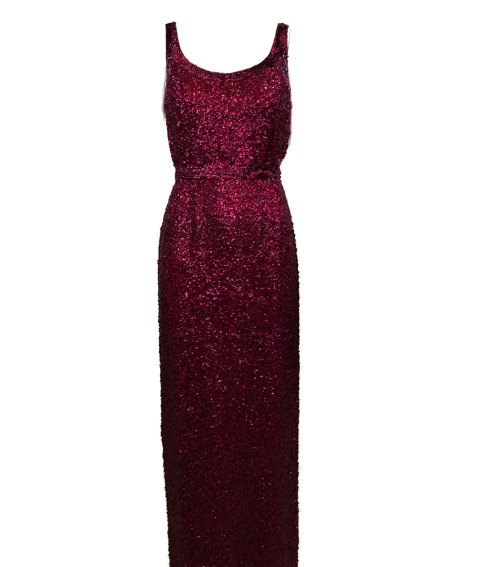 60's Berry All Over Sequin Gown