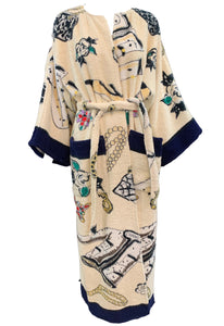 Rare Chanel Terry Cloth  Robe with Iconic Print Front 1 of 5